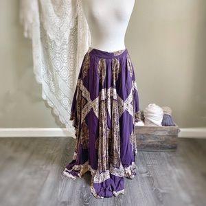 FREE PEOPLE   Boho Purple Gypsy Maxi Skirt